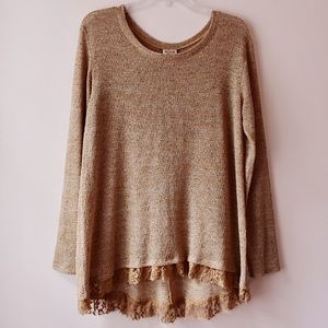 Mossimo Supply Co. Butterscotch Lace Trim Sweater